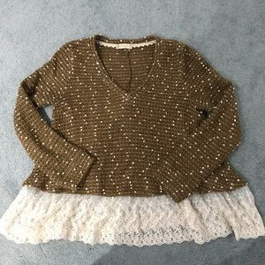 🍂ALTAR'D STATE🍂 Cozy Sweater w/ Lace Trim